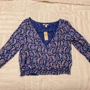 AEO Blue Wrap Long Sleeve Top